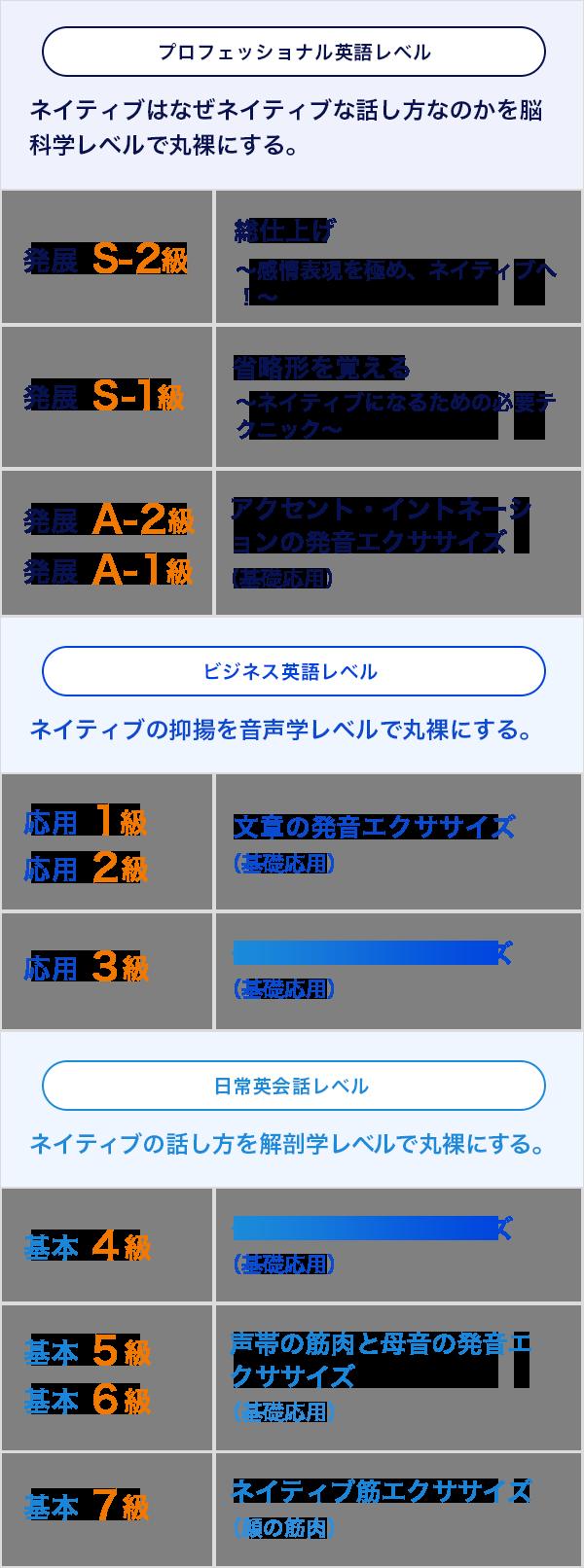 11段階のカリキュラム図